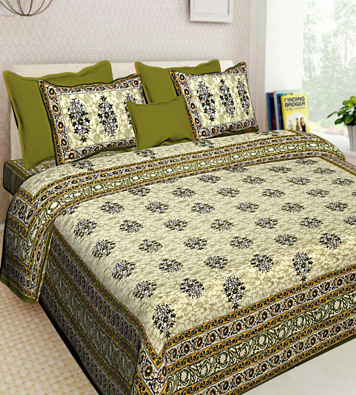 Cream Mahendi Green Cotton Jaipuri Bedsheet-596