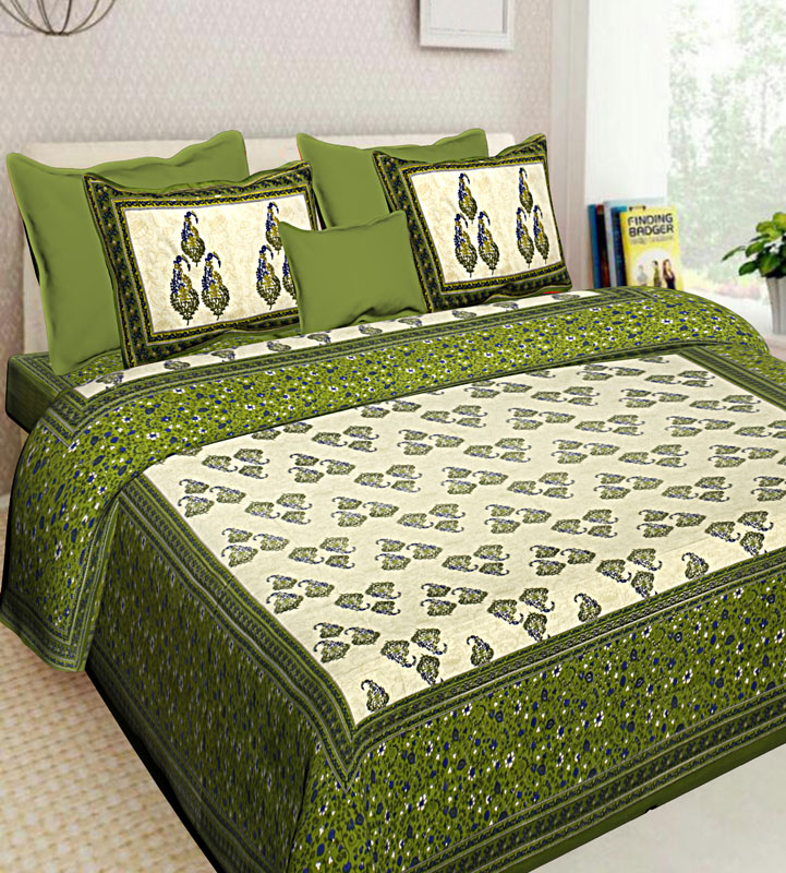 Cream Mahendi Green Cotton Jaipuri Bedsheet-619