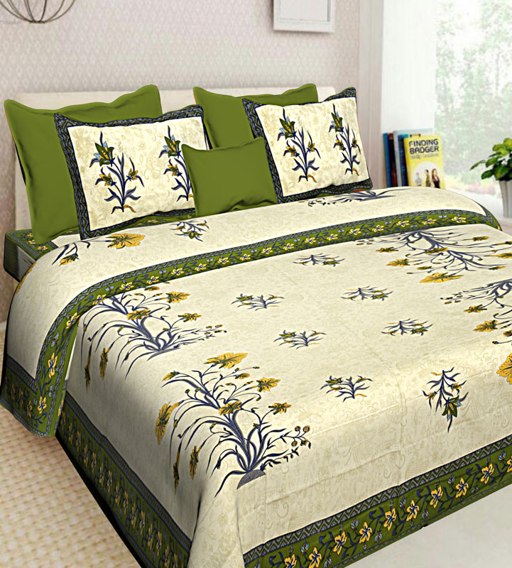 Cream Mahendi Green Cotton Jaipuri Bedsheet-630