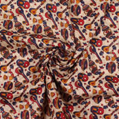 Cream Maroon and Blue Manipuri Silk Fabric-16401
