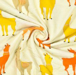 Cream Orange Animal Print Rayon Fabric-16221
