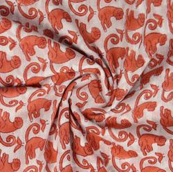 Cream Orange Block Print Cotton Fabric-16016