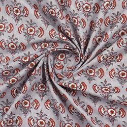 Cream Orange Block Print Cotton Fabric-16063