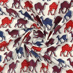 Cream Orange Block Print Cotton Fabric-16162