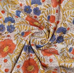 Cream Orange Block Print Cotton Fabric-16192