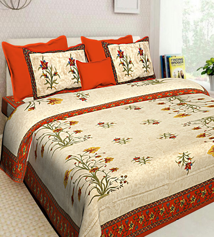 Cream Orange Cotton Jaipuri Bedsheet-626