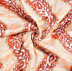 Cream Orange Digital Position Print Chinon Embroidery Fabric-19296