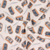 Cream Orange and Black Musical Instrument Print Cotton Flex Fabric-15159