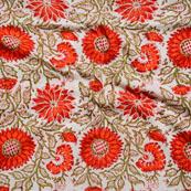 Cream Orange and Green Block Print Cotton Fabric-14636