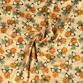 Cream-Orange and Green Pineapple and Spack Pattern Kalamkari Manipuri Silk Fabric-16258