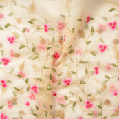 Cream-Organza Fabric With Green and Pink Flower Embroidery-51061
