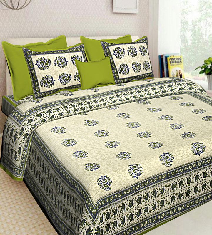 Cream Parrot Green Cotton Jaipuri Bedsheet-615