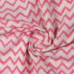 Cream Pink Block Print Cotton Fabric-16168
