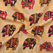 Cream-Pink and Black Elephant Design Kalamkari Manipuri Silk-16037