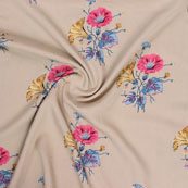 Cream Pink and Blue Block Print Rayon Fabric-14806