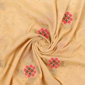 Cream Pink and Golden Flower Embroidery Chinon Fabric-35007