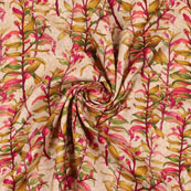 Cream Pink and Green Manipuri Silk Fabric-16415