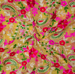 Cream Pink and Green Multi Work Georgette Embroidery Fabric-19416