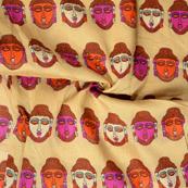 Cream-Pink and Orange Buddha Pattern Kalamkari Manipuri Silk Fabric-16245