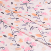 Cream-Pink and Orange Flower Silk Crepe Fabric-18108