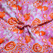 Cream Pink and orange Block Print Cotton Fabric-14609