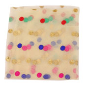 Cream Pink and Red Polka Net Fabric-60969