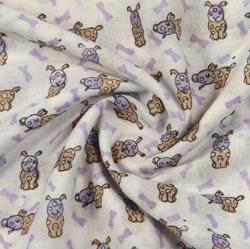 Cream Purple Animal Block Print Cotton Fabric-16197