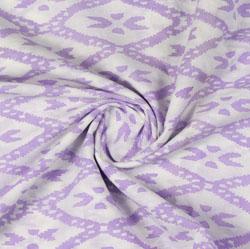Cream Purple Block Print Cotton Fabric-16139