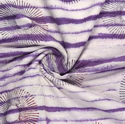 Cream Purple Block Print Cotton Fabric-16166