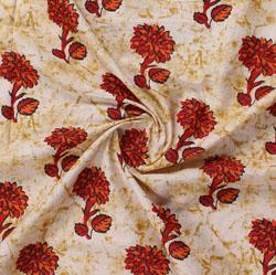 Cream Red Block Print Cotton Fabric-16036