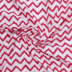 Cream Red Block Print Cotton Fabric-16110