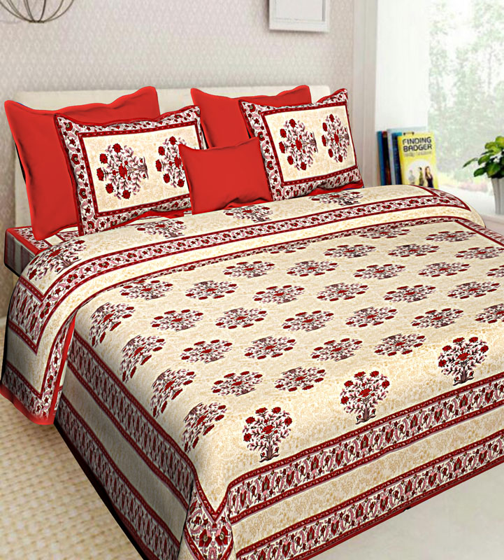 Cream Red Cotton Jaipuri Bedsheet-564