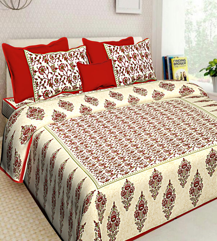 Cream Red Cotton Jaipuri Bedsheet-573