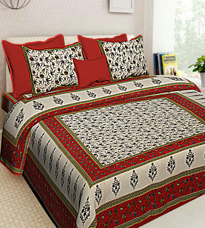 Cream Red Cotton Jaipuri Bedsheet-608