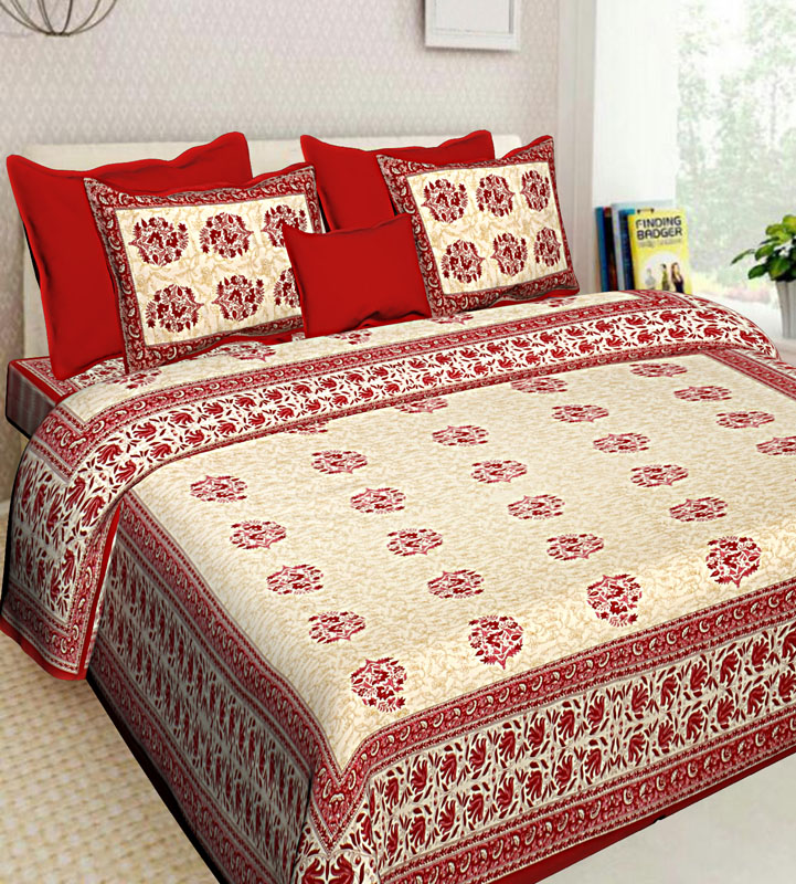 Cream Red Cotton Jaipuri Bedsheet-612