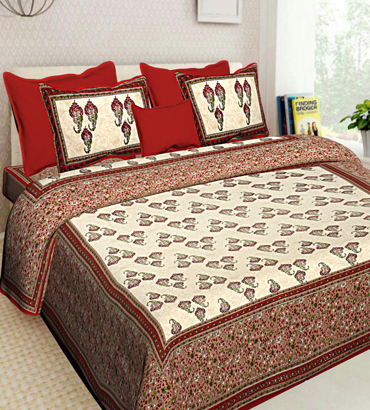 Cream Red Cotton Jaipuri Bedsheet-618
