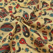 Cream-Red and Black Musical Instruments Design Kalamkari Manipuri Silk-16069