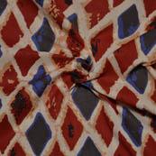 Cream-Red and Black Square Shape Ajrakh Block Print Fabric-14059