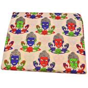 Cream-Red and Blue Buddha Design Kalamkari Cotton Fabric-5789