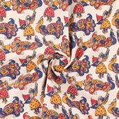 Cream-Red and Blue Peacock Kalamkari Cotton Fabric-10167