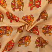 Cream-Red and Green Elephant Design Kalamkari Manipuri Silk-16036
