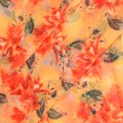 Cream-Red and Green Floral Design Silk Organza Fabric-50051
