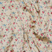 Cream Red and Green Flower Japan Satin Fabric-18198
