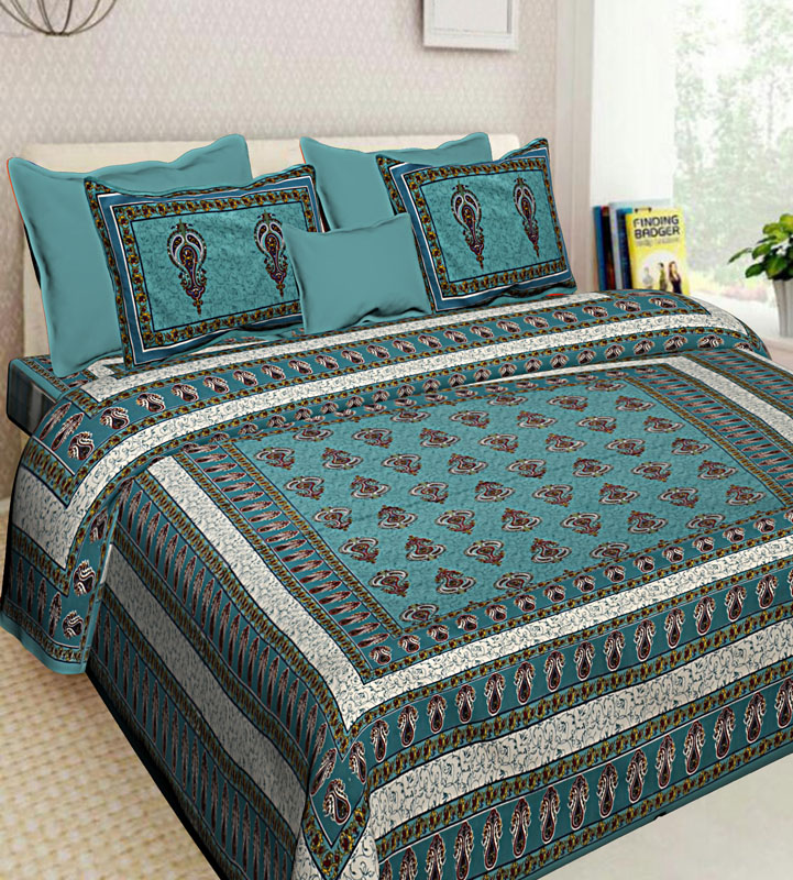 Cream Sea Green Cotton Jaipuri Bedsheet-588