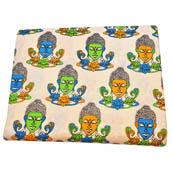 Cream-Yellow and Green Buddha Face Pattern Kalamkari Cotton Fabric-5798