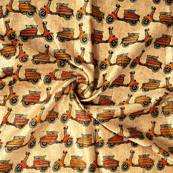 Cream-Yellow and Green Scooter Design Kalamkari Manipuri Silk Fabric-16157