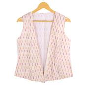 Cream-Yellow and Pink Cut Sleeve Ikat Cotton Koti Jacket-12219