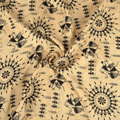 Cream and Black Warli Design Kalamkari Manipuri Silk Fabric-16219