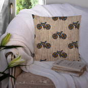 Cream and Blue Cotton Cushion Cover-35032