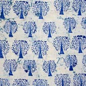 Cream and Blue Palm Tree Block Print Fabric by the yard